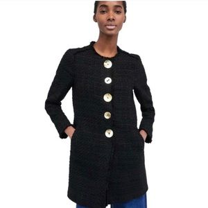 Zara Tweed Black Gold Buttons Coat ❣️